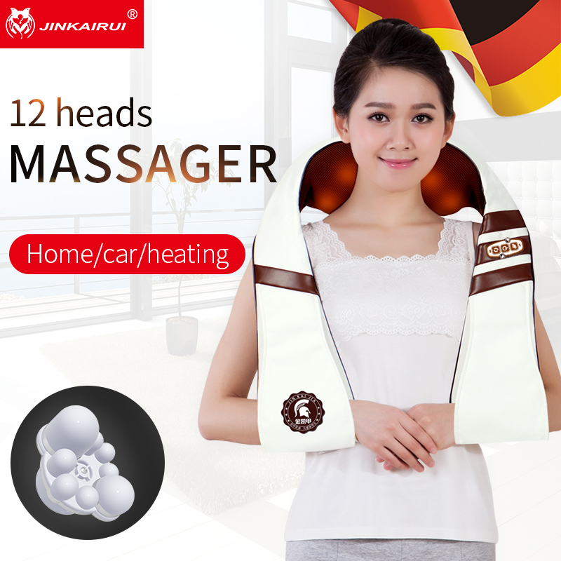 JinKaiRui Shiatsu Cervical Back Neck Massager Shawl Electric Heat Device Home Car Massage Antistress Machine Massagem electric antistress therapy rollers shiatsu kneading foot legs arms massager vibrator foot massage machine foot care device hot