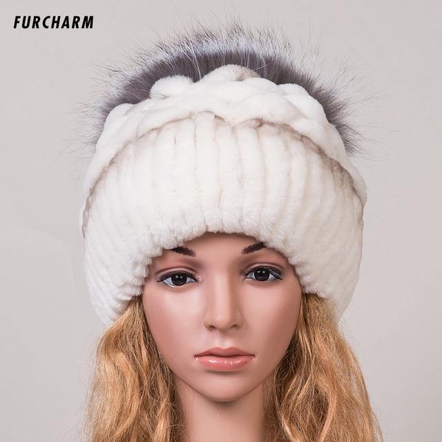 Mujer de Sombrero de Invierno 100% Bienes Fox Sombrero de Piel con piel de Zorro de Plata Pom Pom Bola Tapas Gorros Buena Calidad Mujer Marca Gorros de Piel Caliente