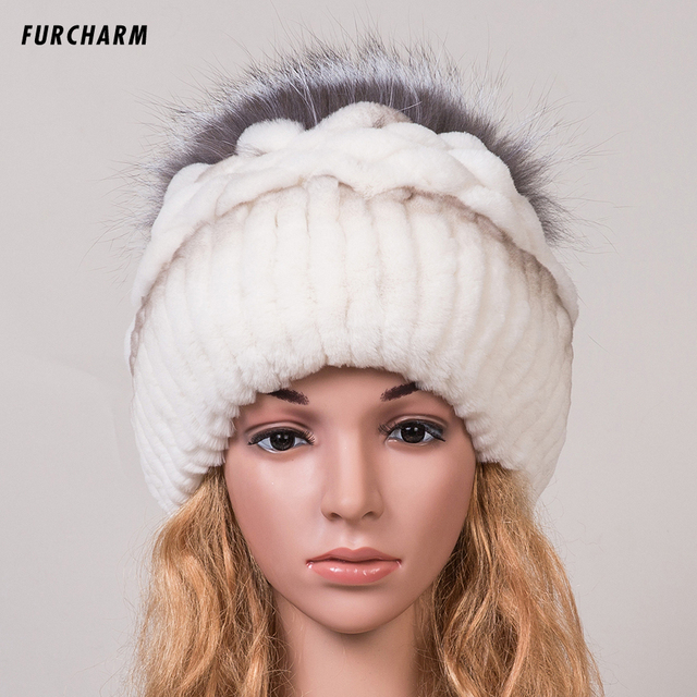 Women's Hat Winter 100% Real  Fox Fur Hat with Silver Fox Fur Pom Pom Ball Tops Beanies Good Quality Female Brand Warm Fur Caps