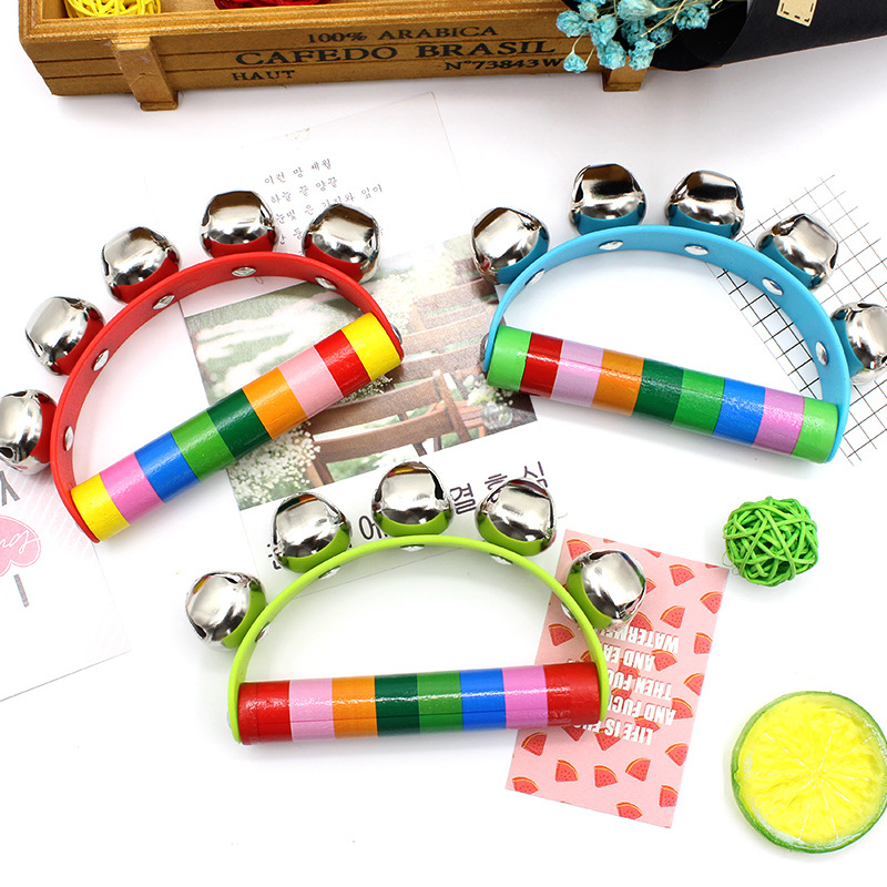 Hot Sale Colorful Baby Rattles Wooden Bell Instruments Baby Rattles 10 Percussion String Of Bells Children's Educational Toys