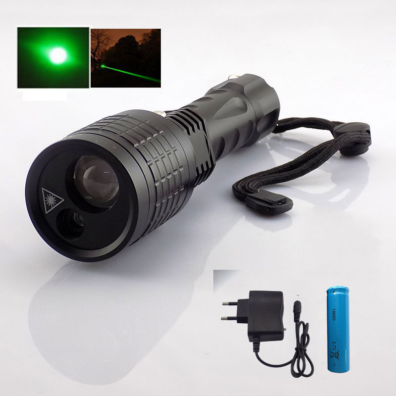 2 in 1 Led Flashlight white light Green Laser pointer lazer lights Search flash torch lamps for hunting fishing 18650 Battery search z35 lights page 1