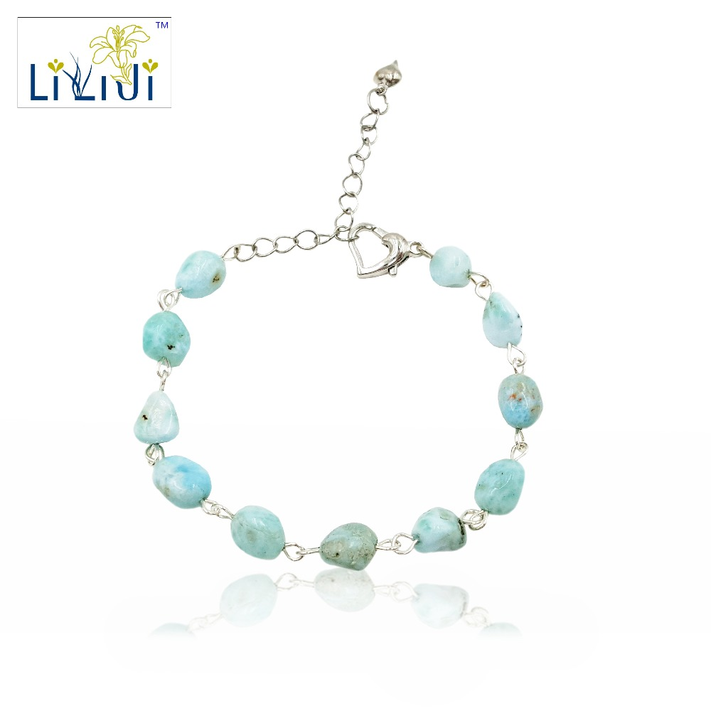 Lii Ji Unique Natural Stone Blue Larimar Nugget shape wire handwork Fashion Bracelet Heart shape Clasp Nice Gift for Women ztung gcp7 for kim customer send with packing women bracelet size diameter about 58mm heart shape for women birthday gift
