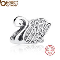 Presents Sterling Silver 925 Elegant Majestic Swan Clear CZ Charms Fit Pandora Bracelet Necklace Jewelry Accessories
