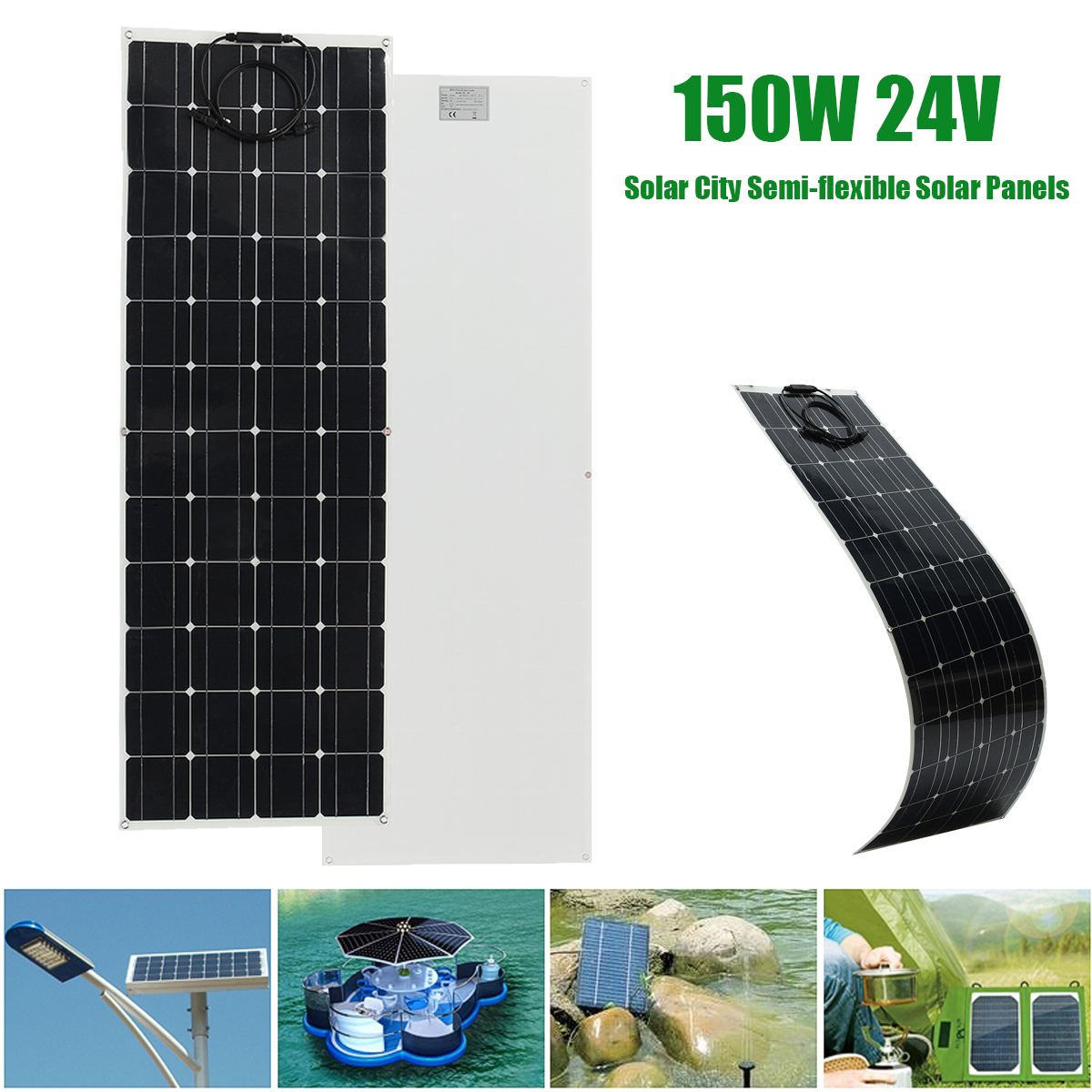 EL-05 150W 24V Semi Flexible Monocrystalline Solar Panel Waterproof High Conversion Efficiency Solar Panel + 1.5m Cable 50w 12v semi flexible monocrystalline silicon solar panel solar battery power generater for battery rv car boat aircraft tourism