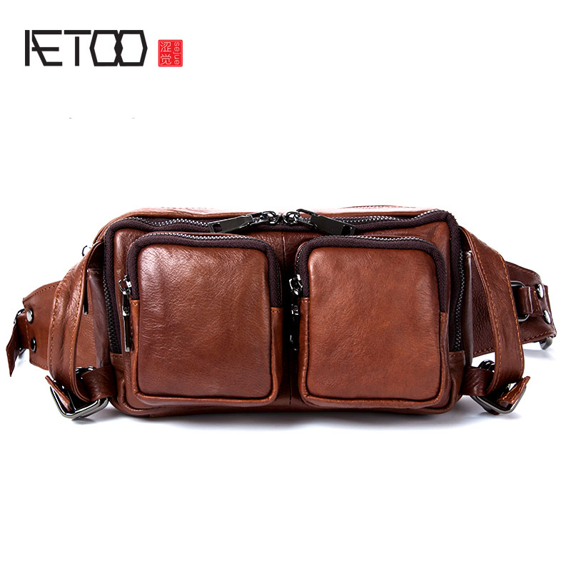 AETOO The first layer of leather pockets of mobile phone bag leather shoulder bag shoulder shoulder bag male models qiaobao 2018 new korean version of the first layer of women s leather packet messenger bag female shoulder diagonal cross bag