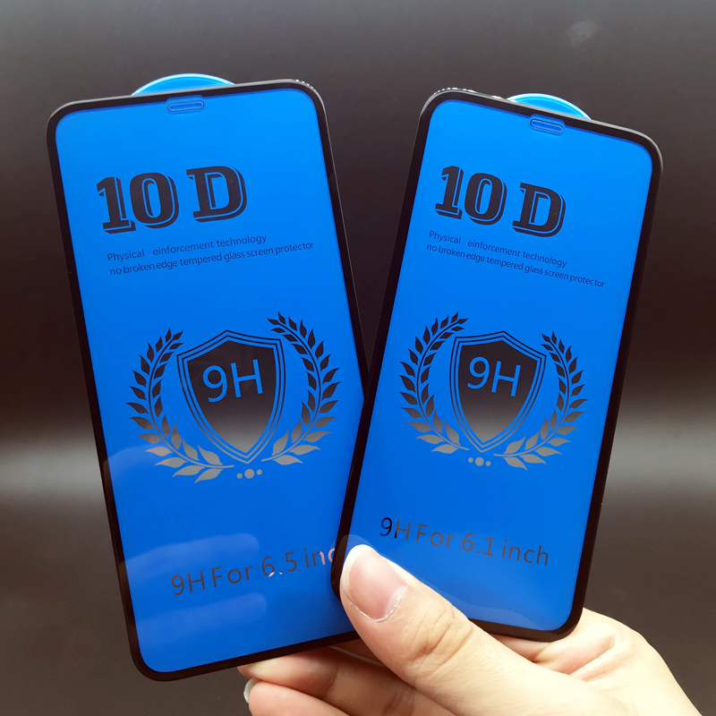 10D Tempered Glass On For iPhone X 7 8 6S Plus Screen Protector Full Cover Protective Glass For iPhone 6 XR XS 11 Pro Max Film