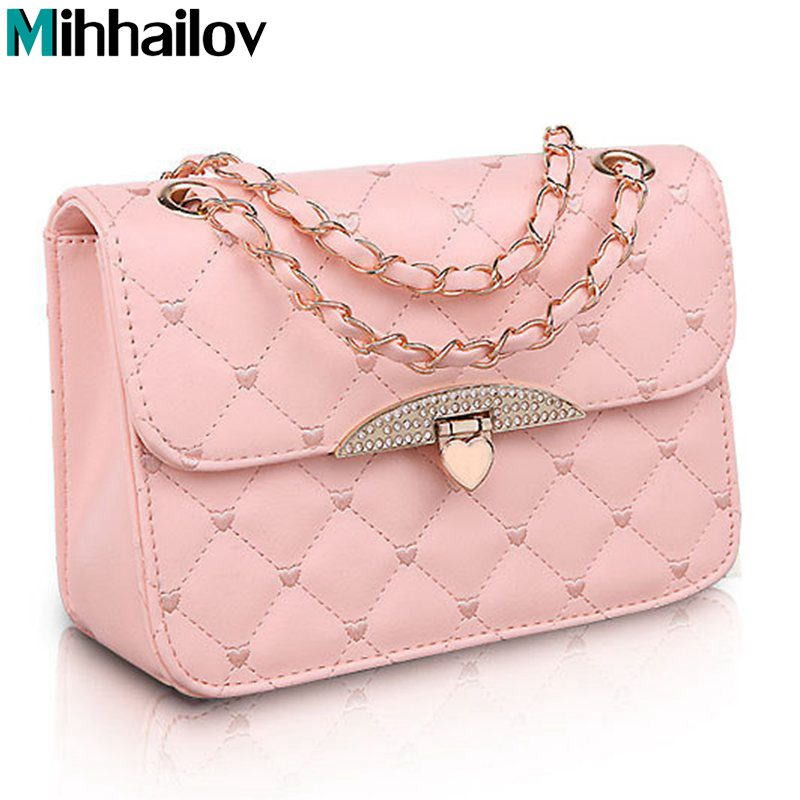 Hot evening bag Peach Heart bag women leather handbags Chain Shoulder Bag women messenger bags fashion womens clutches B70-286
