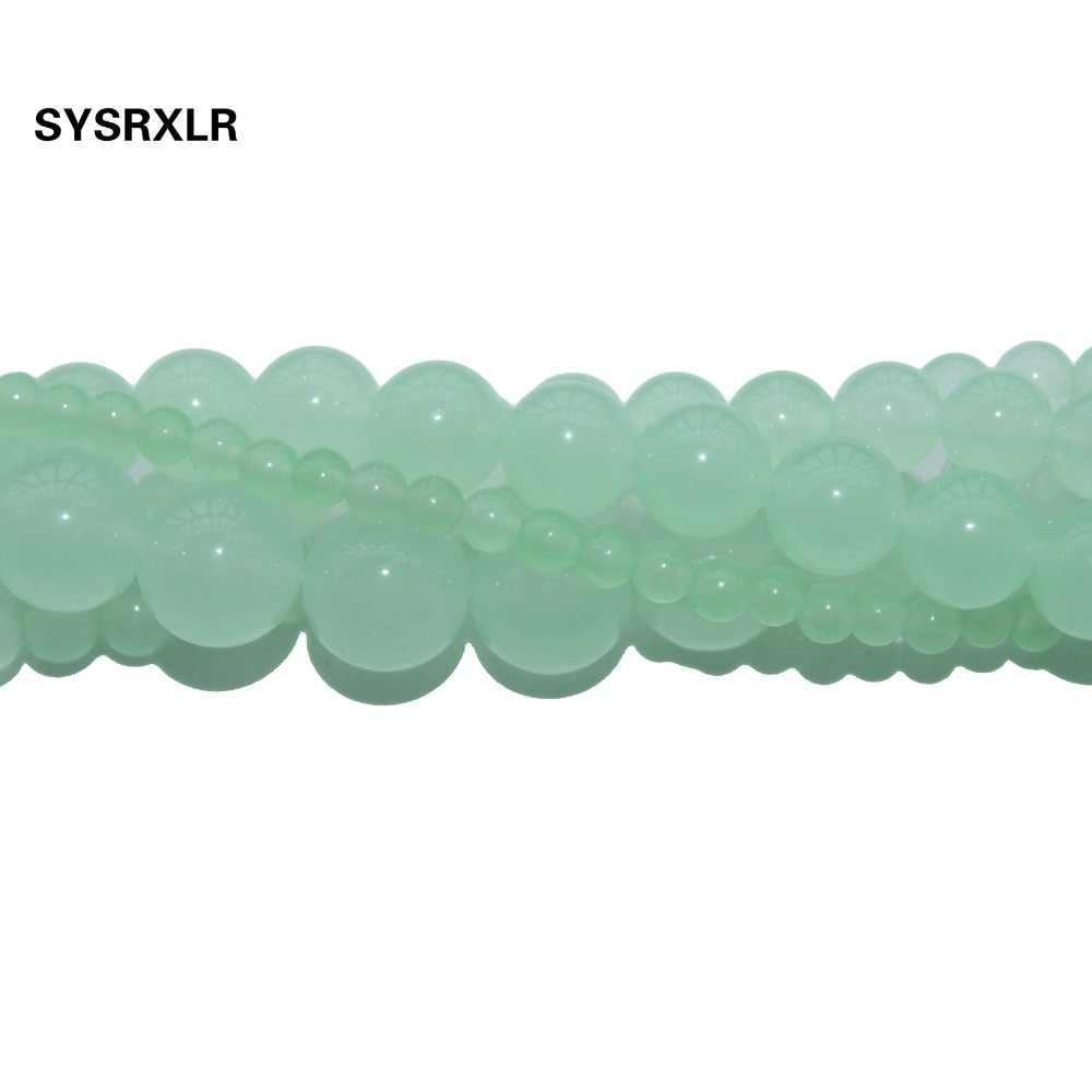 الجملة صبغ الأخضر Jadee Atural أحجار بيضاء الخرز لصنع المجوهرات سوار ذاتي الصنع قلادة 4/6/8/10/ 12 ملليمتر حبلا 15.5