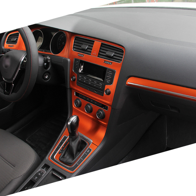 Car-Styling Teeze Car Interior Center Console Color Change Carbon Fiber Molding Sticker Decals For VW Golf 7