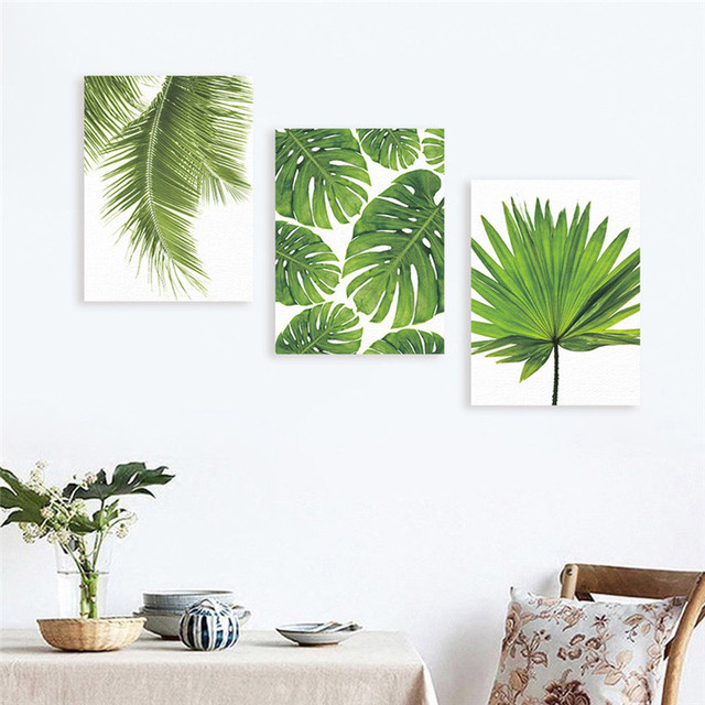 Us 2 52 19 Off Frameless Canvas Painting Nordic Natural Green Plants Wall Art Paintings Art Poster Wall Pictures For Living Room Home Decor In