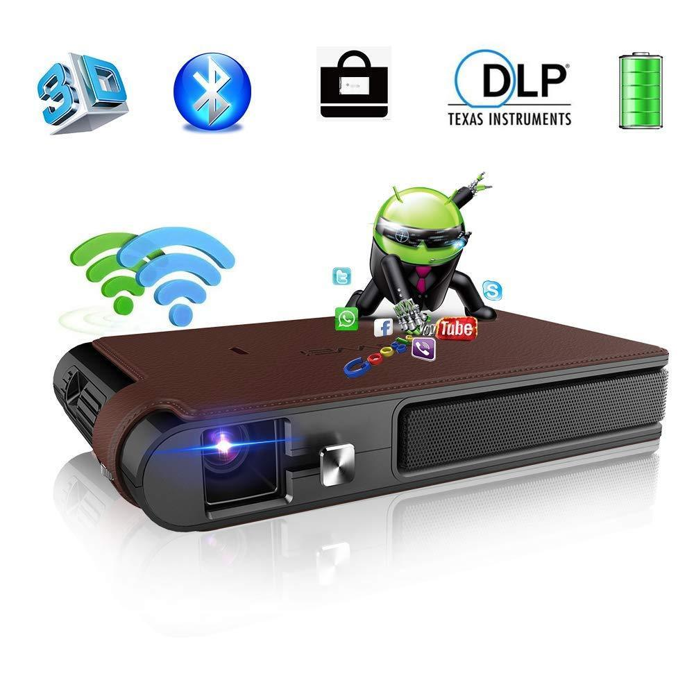 CAIWEI WIFI Home Theater Mini Portatile LED Pico 3D Proiettore DLP 1080 P Video Proiettore con Android Bluetooth Miracast Airplay