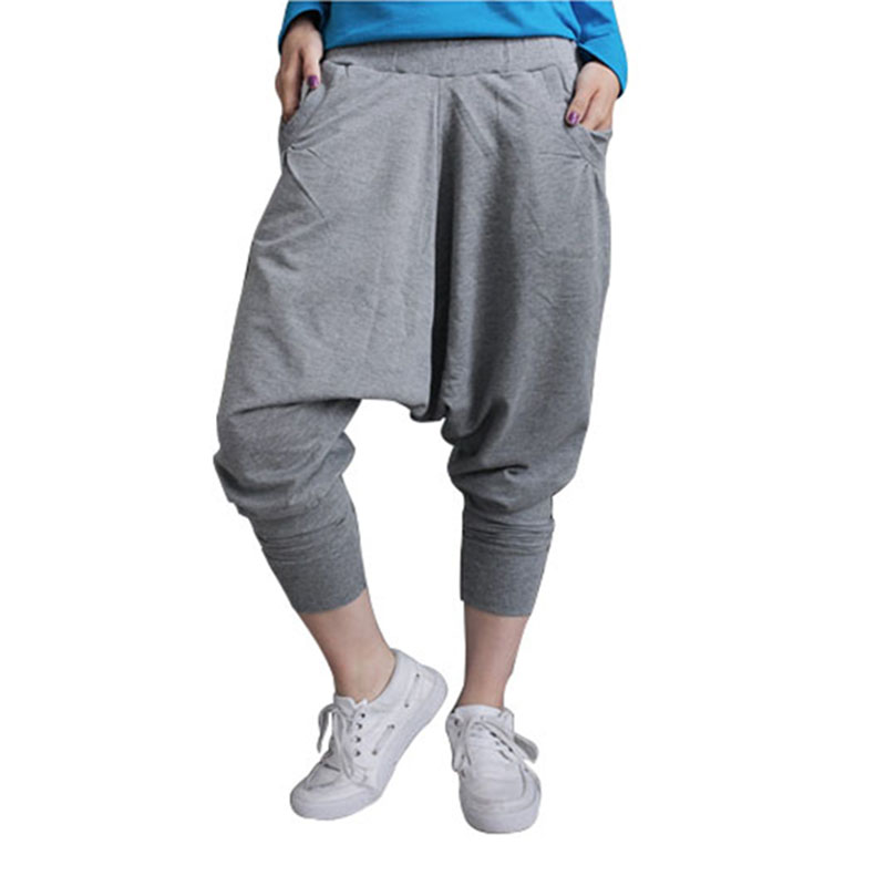 Mens Fashion Hip Hop Pants Blend Cotton Baggy Cross Trousers Casual Men Elastic Low Waisted Pants Drop Crotch Sweatpants