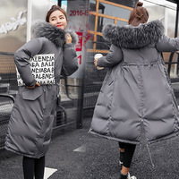 Large Fur Down Jacket Winter Women New Fashion Loose Hooded Down Cotton Padded Jacket Coat Female Thick Long Parkas Outwear