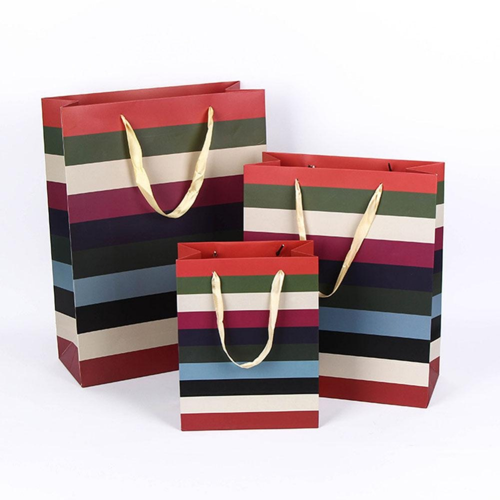 Rainbow printed paper Shopping Bags with Handle Boutique Clothes Gift Packaging Bag pape ...