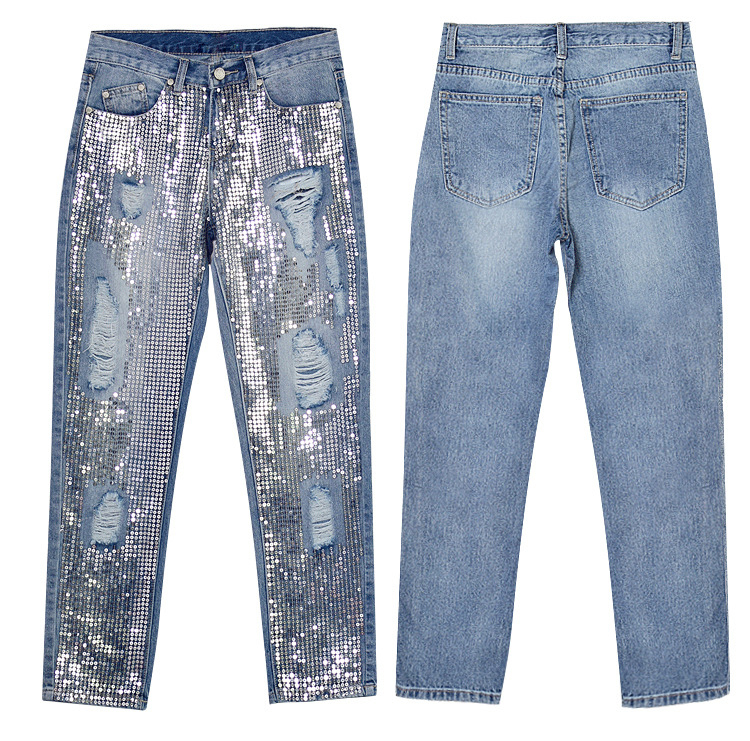 2018 Europe and the United States women`s fashion waist loose straight jeans denim pants ultra-popular metal color embroidery beads washed old holes (11)