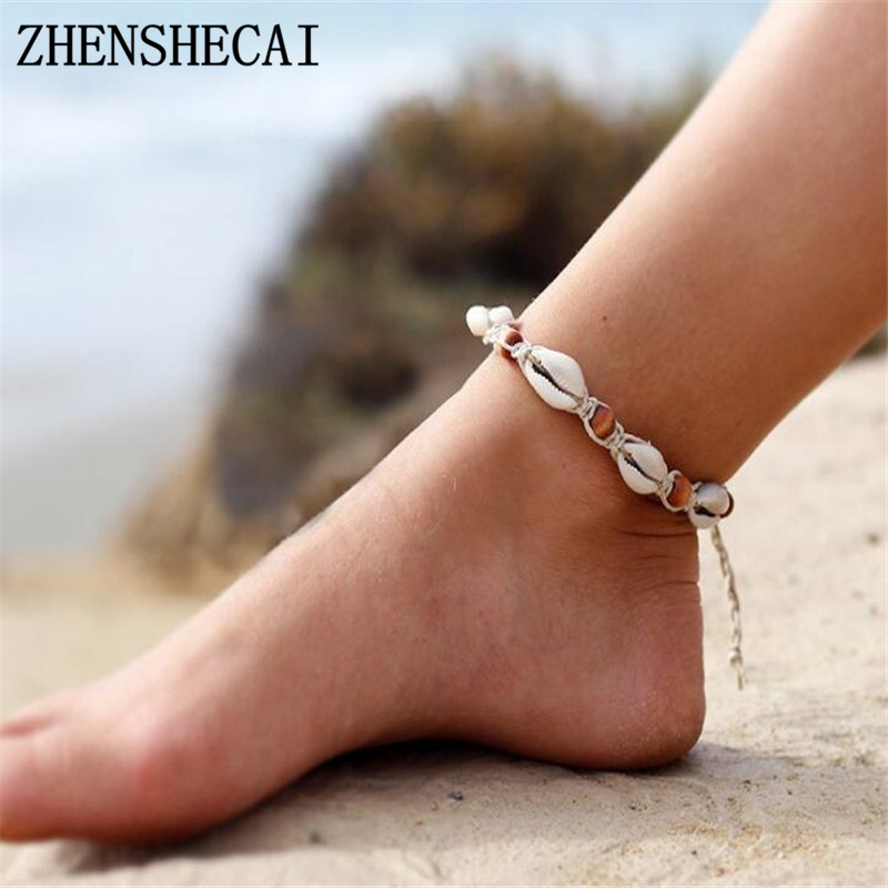 DIY Rope Wood Bead Ankle Bracelet Natural Shell Bohemian Anklet Women Foot Jewelry Summer Beach Holiday Accessories NS2