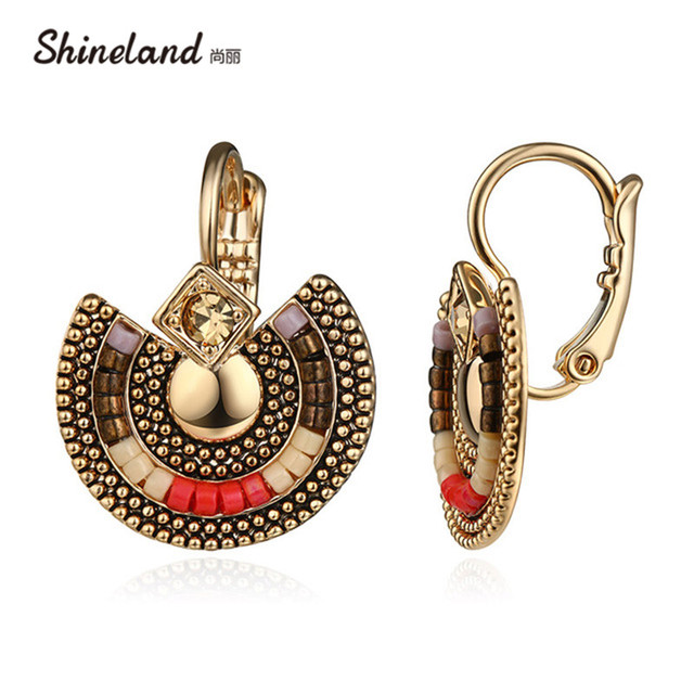 Shineland Bohemian Vintage Antique Silver Gold Color Crystal Rhinestone Beads Statement Clip Earrings Ethnic Jewelry