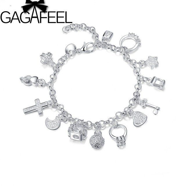 Silver plated bracelets for women silver plated jewelry diy charm bracelet bangle with star heart charms free shipping LKB065