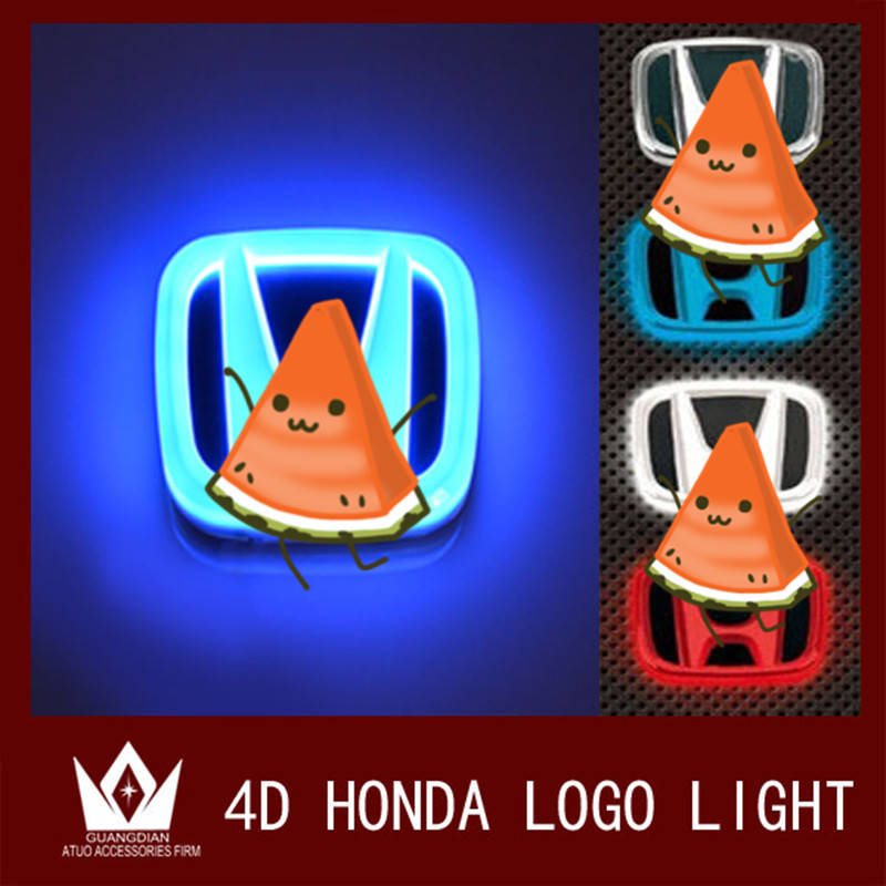 For Honda led Rear Badge Sticker light 4D Car Emblem light lamp  LED light  4D logo light Emblems led 1 car styling white red blue 3d led decal front tail rear logo light badge lamp emblem sticker for all car models