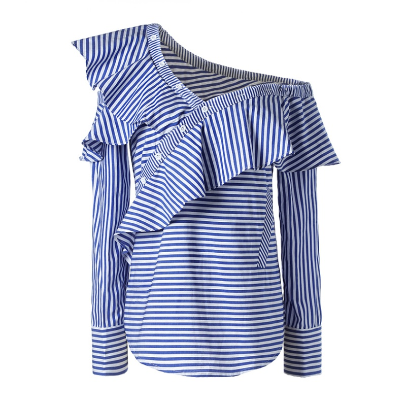 Newest Style  Spring Summer Women One Shoulder Off Ruffles Blouse Tops Casual Blue White Striped Shirts Long Sleeve Costume