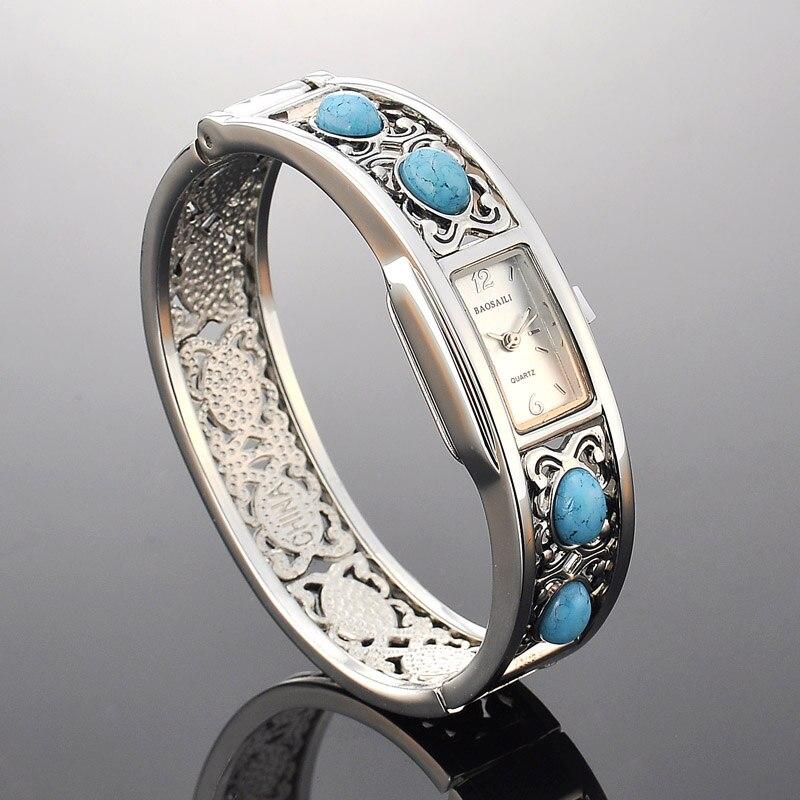 BAOSAILI Retro Künstliche Türkis Armreif Uhr Frauen Luxus frauen Armband Uhren Damen Kleid Quarz Armbanduhren Uhr PJ