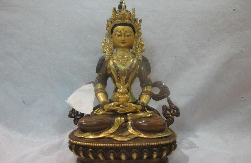Tibet Buddhism Temple 100% Bronze 24K Gold Gilt Amitayus Buddha Buddha StatueTibet Buddhism Temple 100% Bronze 24K Gold Gilt Amitayus Buddha Buddha Statue