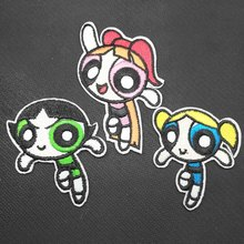 Cartoon The Powerpuff Girls Iron On Embroidered Clothes Patches For Clothing Stickers Garment Wholesale