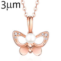 3UMeter Butterfly Pearl Necklace Rose Gold And 925 Silver Plating Beads Necklace For Women Party Wedding