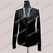 Men Ballroom Dance Shirt Black Spandex Latin Top Velvet Diamond Men Dance Shirt For Cha Cha/Rumba/Samba/Tango/Jazz/Waltz Wear