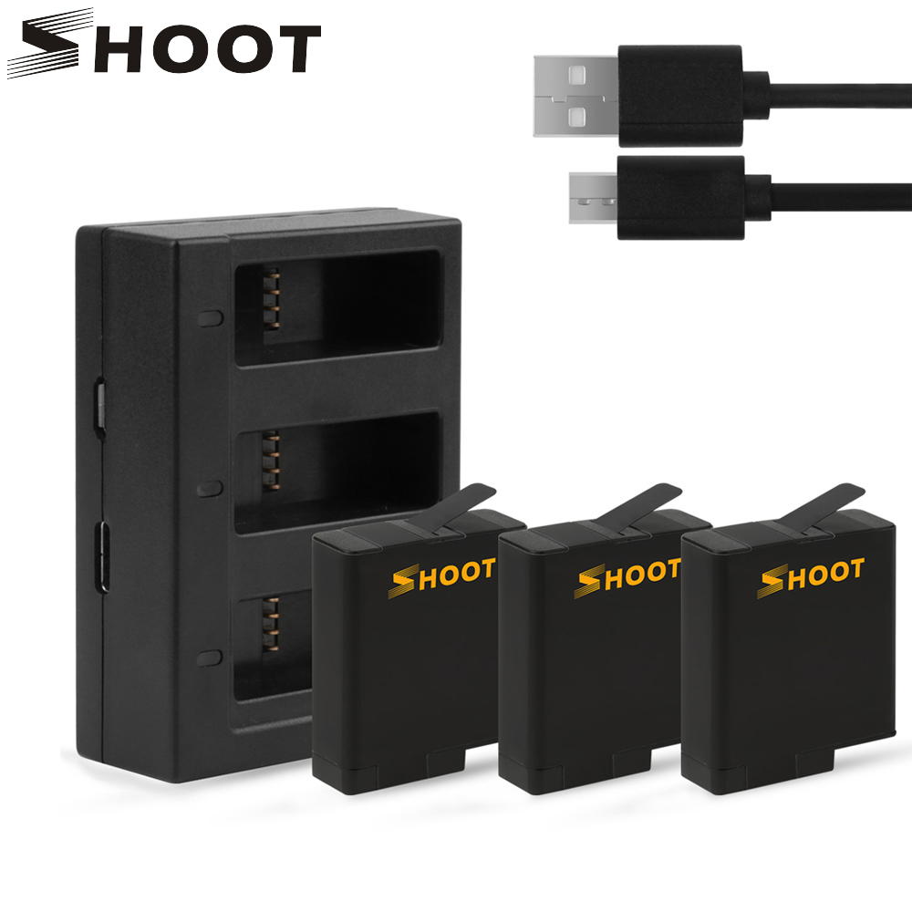 SHOOT 3Pcs AHDBT 501 Battery with Three Ports USB Charger for GoPro Hero 5 Black Camera