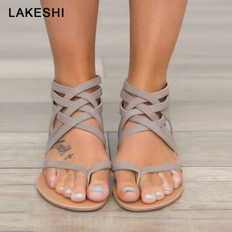 Summer Gladiator Sandals Women Shoes Fashion Roman Sandals Cross Tied Shoes Women Retro Beach Flat Sandals Shoes Plus Size 43Summer Gladiator Sandals Women Shoes Fashion Roman Sandals Cross Tied Shoes Women Retro Beach Flat Sandals Shoes Plus Size 43