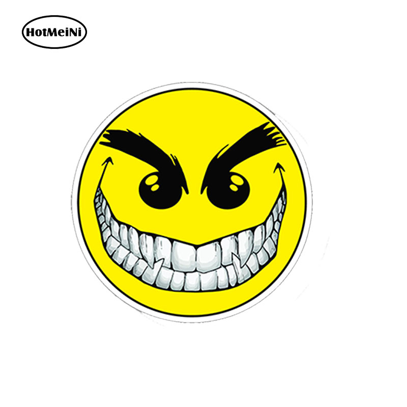 HotMeiNi 13*13cm Car Accessories Evil Smiley Happy Face Printed 3D Decal Car Truck <font><b>Laptop</b></font> Motorcycle <font><b>Locker</b></font> Car Sticker image