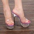 2016 лето Платформа сексуальная Slingback мулов ясно пвх сандалии Обуви для женщины Большой Размер 43 42 Высокий каблук Большой Насос Леди женщина плюс