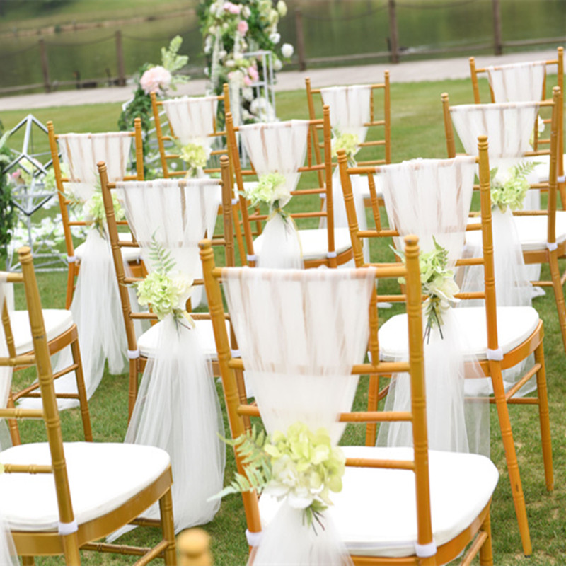 Us 500 Wedding Chair Ties Chair Band Sash Ribbon With Row Diamond Hotel Banquet Tulle Back Cover Bows Outdoor Party Decoration Textile In Party Diy