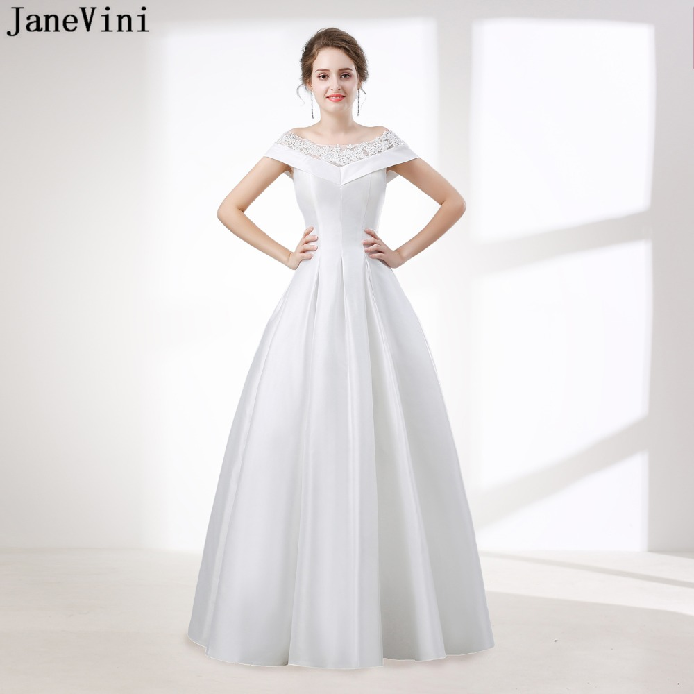 JaneVini 2019 Elegant A Line White Long   Prom     Dresses   Scoop Neck Cap Sleeve Appliques Plus Size Satin Gown Floor Length Gala Jurk