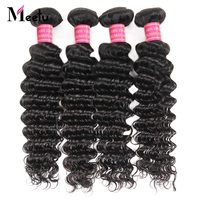 Meetu Peruvian Deep Wave Hair Bundles Natural Color Non Remy 100% Human Hair Extensions Can Buy 3 Or 4 Bundles Deals Promotion