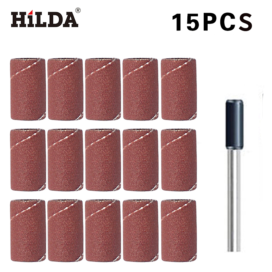 HILDA 15 PCS Sanding Band 8.5mm with drum sander dremel accessories Fits for Dremel Rotary Tools dremel hilda 6pcs emery grinding head for hilda tools 6pcs sanding bands dia 12 7mm with drum sander for drill bits machine