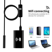 HD720P 8mm 2MP 8LED Hard Flexible Snake Connector USB WIFI Android IOS Endoscope Camera Wire Tube