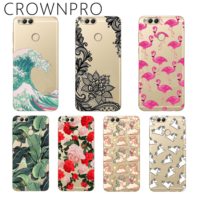 CROWNPRO Soft TPU Honor 7X Case Cover Drawing Painted 5.93