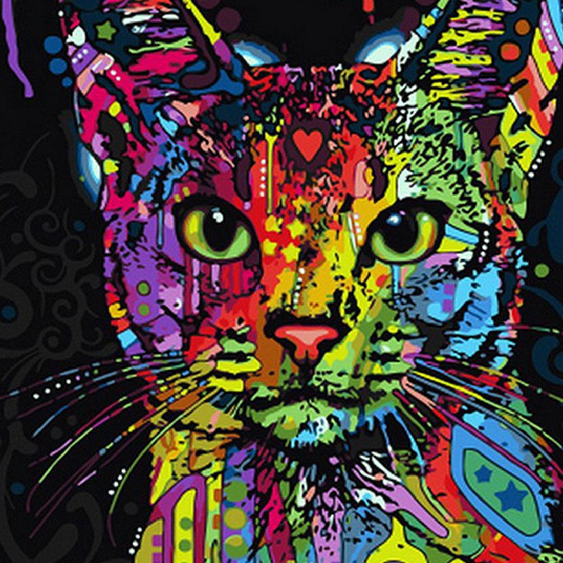 Распродажа обрамленная картина живопись по номерам Аннотация животных Cat DIY картина ма ...