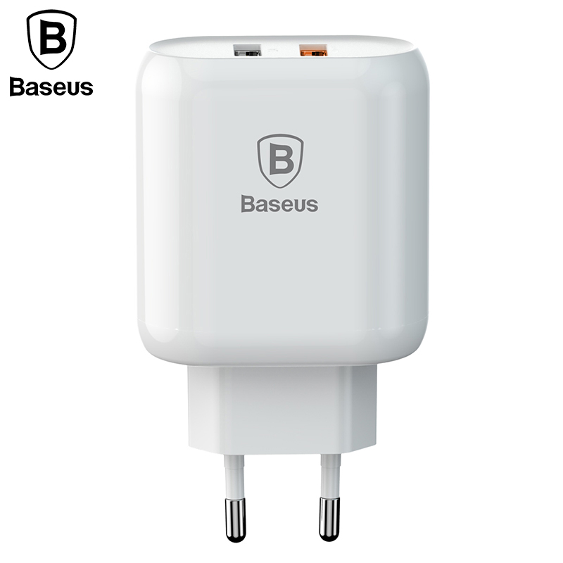 Baseus Dual USB Charger Quick Charge 3.0 Fast Charger EU Plug 23W USB Travel Charger Adapter For iPhone X Samsung S9 S8 Xiaomi