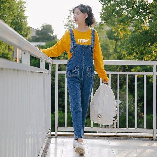 2018 Automne Nouvelle-Coréen Femmes Salopette Lâche Coréenne Preppy Style Salopette Salopette Femmes Preppy Style Salopette Pour Les Femmes