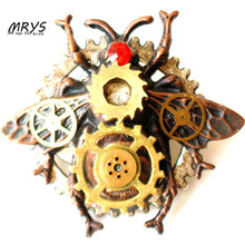 MRYS steampunk gothic punk rock honey bee watch parts gear collar brooch pins badge for women men vintage handmade jewelry gift