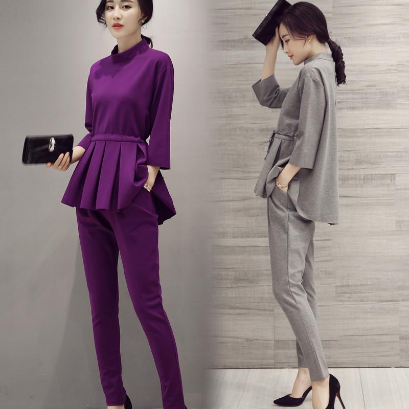Ladies-Pant-Suits-2016-Spring-Autumn-O-Neck-Ruffles-Female-Business-Women-Evening-Suit-Elegant-Pants