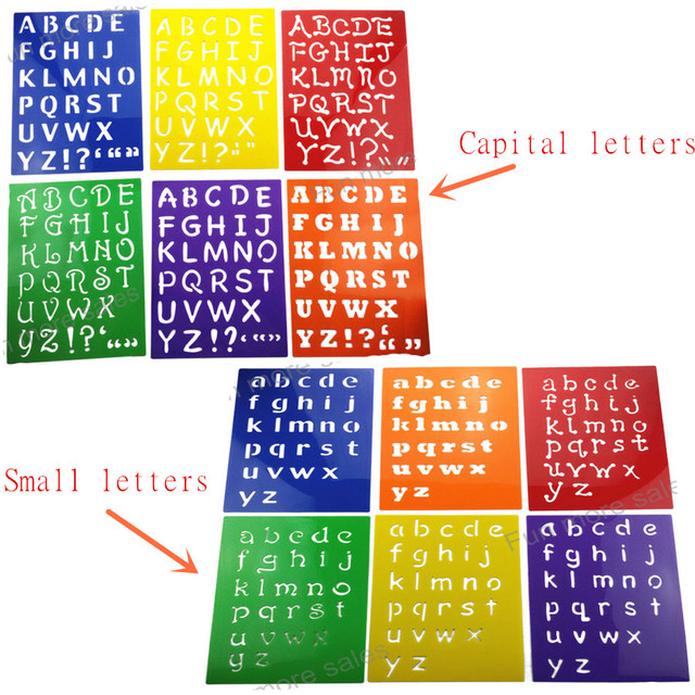 6pc Stencils Kids small capitall alphabet Letter drawing templates children educational Hot toys Plastic painting board277x215mm