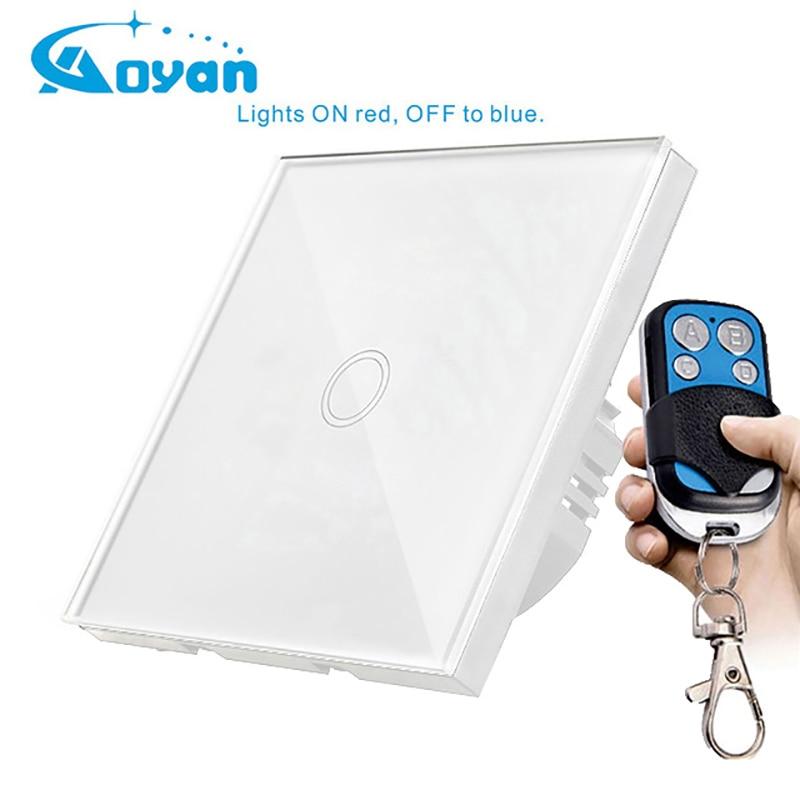 Mobu Tactile Standard de L'UE Switch 1 Gang 1 Way Mur Switch Light Touch, trempé Panneau de Verre Interrupteur Étanche LED Lampe Commutateurs