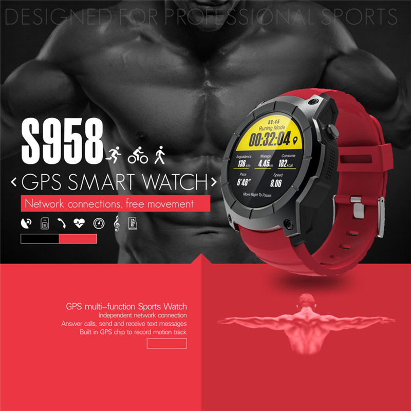 S958 GPS Smart Watch Outdoor Activity Sports Waterproof Heart Rate Monitor SIM Card Call Smartwatch Compatible for Android IOS 2017 new gps smart watch sport waterproof heart rate monitor dial call 2g sim card all compatible smartwatch for android ios