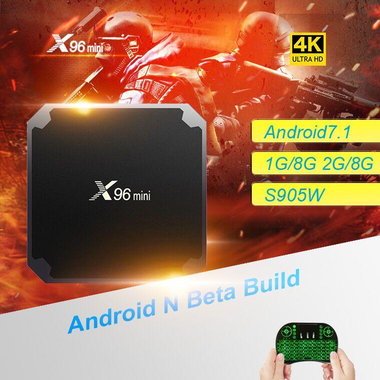 X96 mini Smart TV Box Android 7.1.2 Amlogic S905W Quad Core 2,4 ghz WiFi 1G8G/2G16G Wifi 4 karat HD x96mini Set-top-Box Media Player