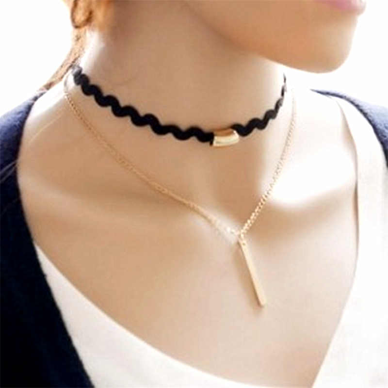 2019 Hottest Fashion Black Wavy Ribbon Torques Bijoux Metal Rod Pendants Bib Double layer Chokers Necklaces For Women Jewelry