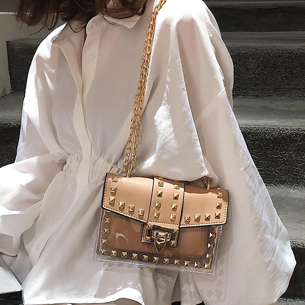 Small clear Brand Designer Woman 2019 New Fashion Messenger Bag Chains Shoulder Bag Female Rivets Transparent Square PU Handbag